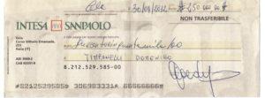 Assegno consegnato al maestro Timpanelli quale garanzia delle 250 mila euro da lui versate al promoter. Tale assegno é risultato carta straccia